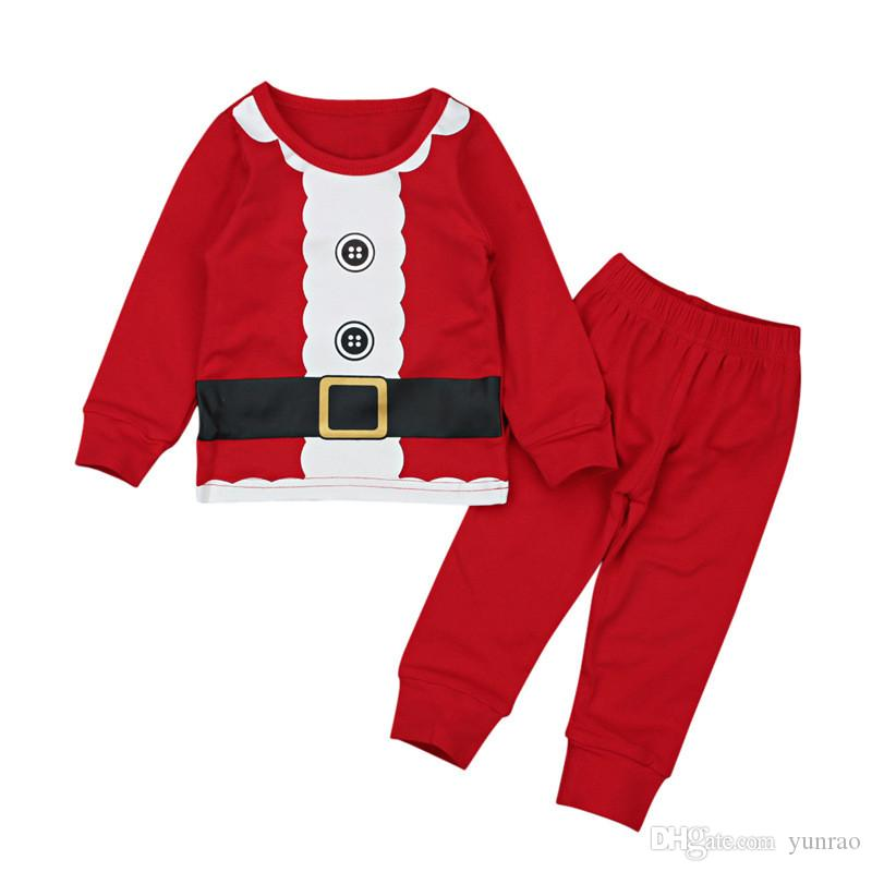 27c19a675743 Baby Boys Clothing Set Kids Christmas Pajamas Red Top with Belt ...