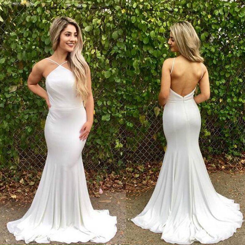 5bad5a3a03d White Simple Satin 2018 Prom Dress Sleeveless Spaghetti Sexy Long Mermaid Prom  Dresses Vestidos De Fiesta Black And White Prom Dress Black Short Prom ...