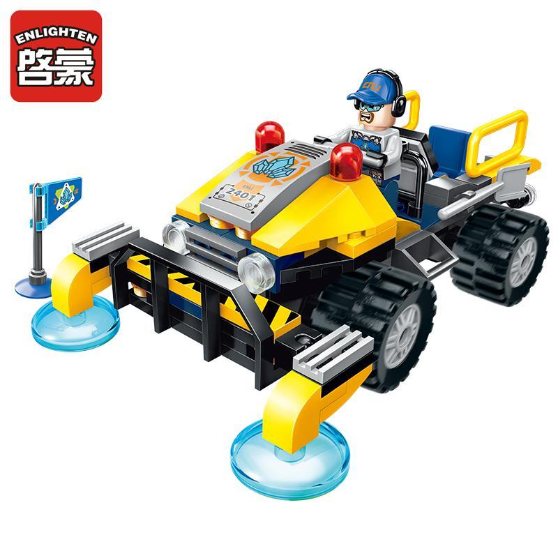 Enlighten Construction Engineering Building Block Technic Kyanite Squad Exploration Vehicle 2 Figure Educational Bricks Toy Gift