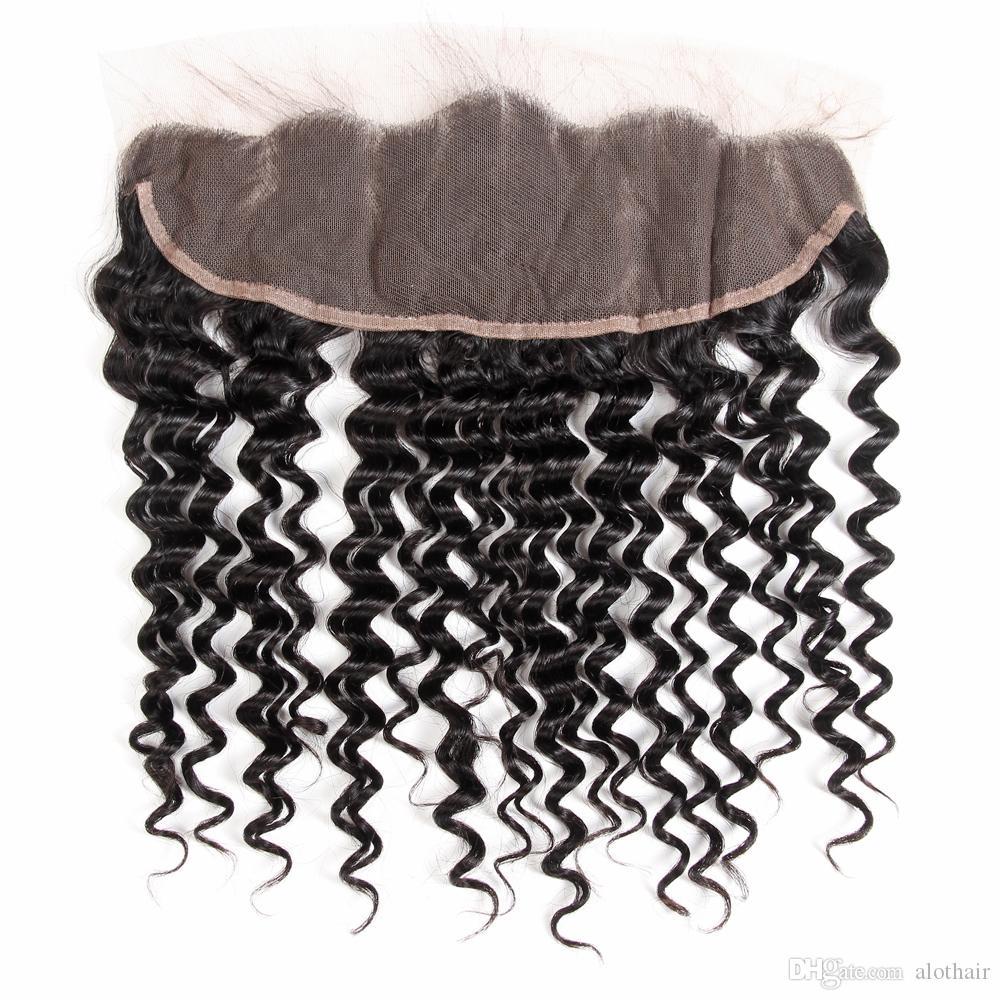 8A Grade onda profunda brasileña del pelo de la Virgen con el cierre frontal del cordón 13xnatural del pelo profunda de la onda 3 paquetes con el frontal del cordón