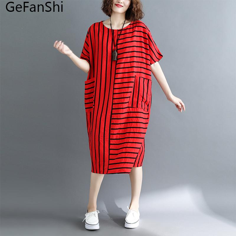 79de39a0 GeFanShi Vintage Striped Short Sleeve Summer Dress Casual Plus Size Loose Cotton  Dress Fashion 2018 New Women Dresses Red Gray Dress C Black Dresses On Sale  ...