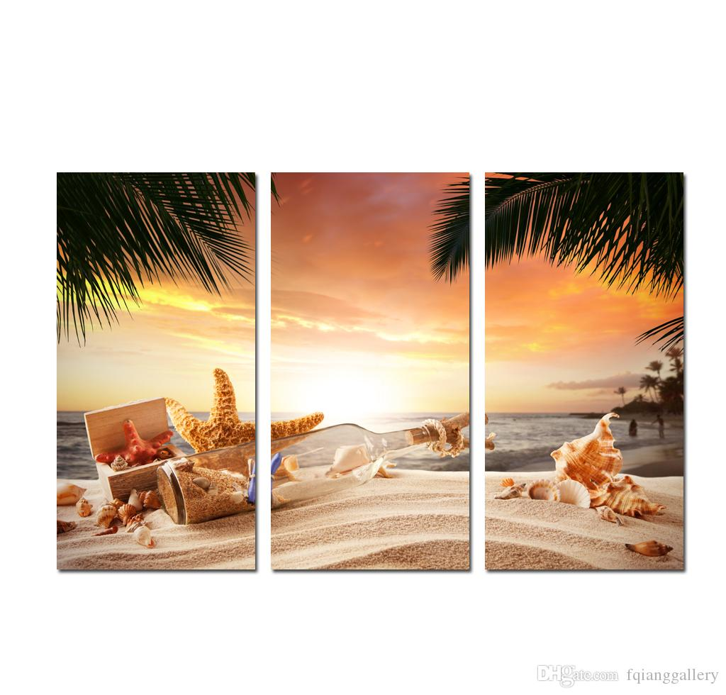 Large 3 Panel Modern Decor Wall Art Sunset Seascape painting Beach conch starfish Printed on canvas Home Picture for Living Room Decoration