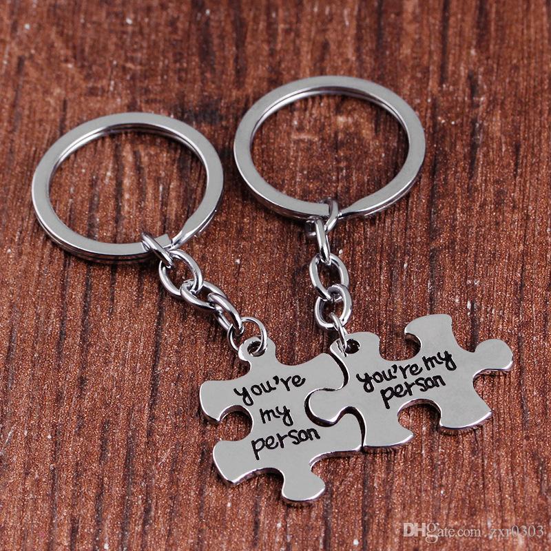 2 шт. / компл. головоломки ты мой человек пара брелок для влюбленных вы мой человек брелок Кольцо держатель лучшие друзья брелок
