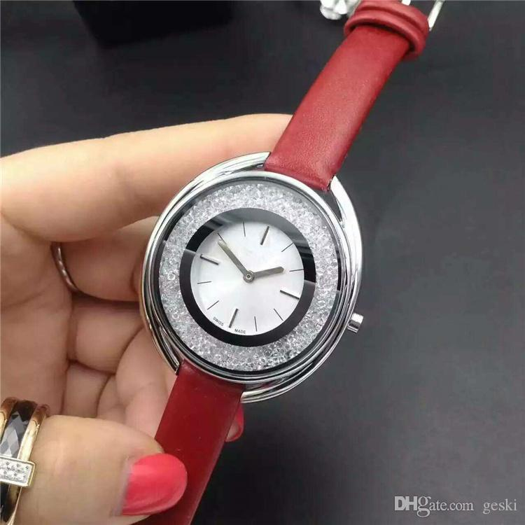 2018 Popular Casual Rolling crystal Dial Women watch Black white Red Leather Wristwatch Lady watches famous brand Dress watch