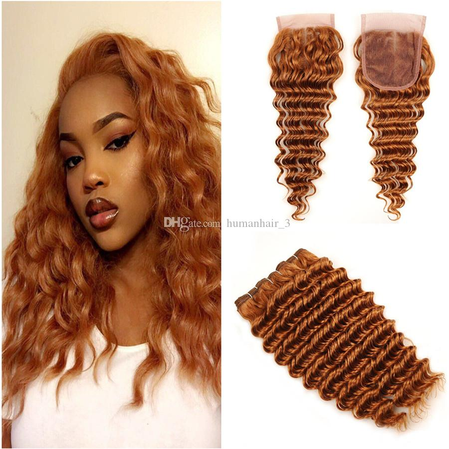 acheter couleur 30 # lumière auburn cheveux humains vague profonde