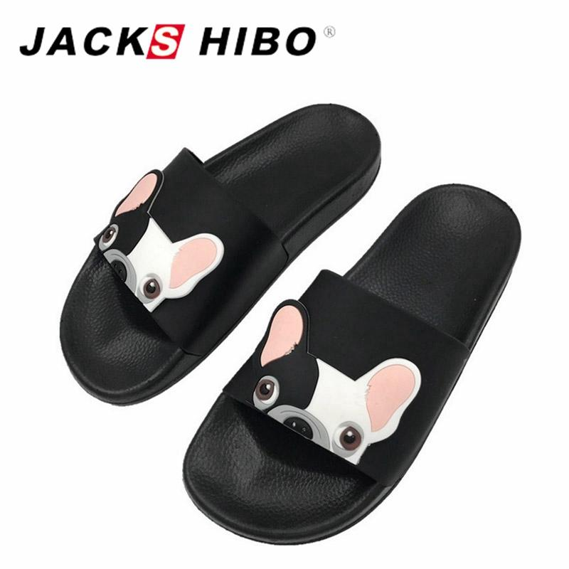 ec4267c89709 JACKSHIBO Cute Dog Pattern Women Slides 2018 Fashion Cartoon Female Beach  Shoes Women Slippers Flip Flops Zapatillas Mujer Slipper Dress Shoes From  Keyhess
