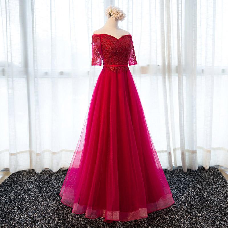 Vestido de noche de tul con hombros descubiertos y apliques de encaje Vestido de fiesta de tul rojos Vestido de noche con cordones de media manga