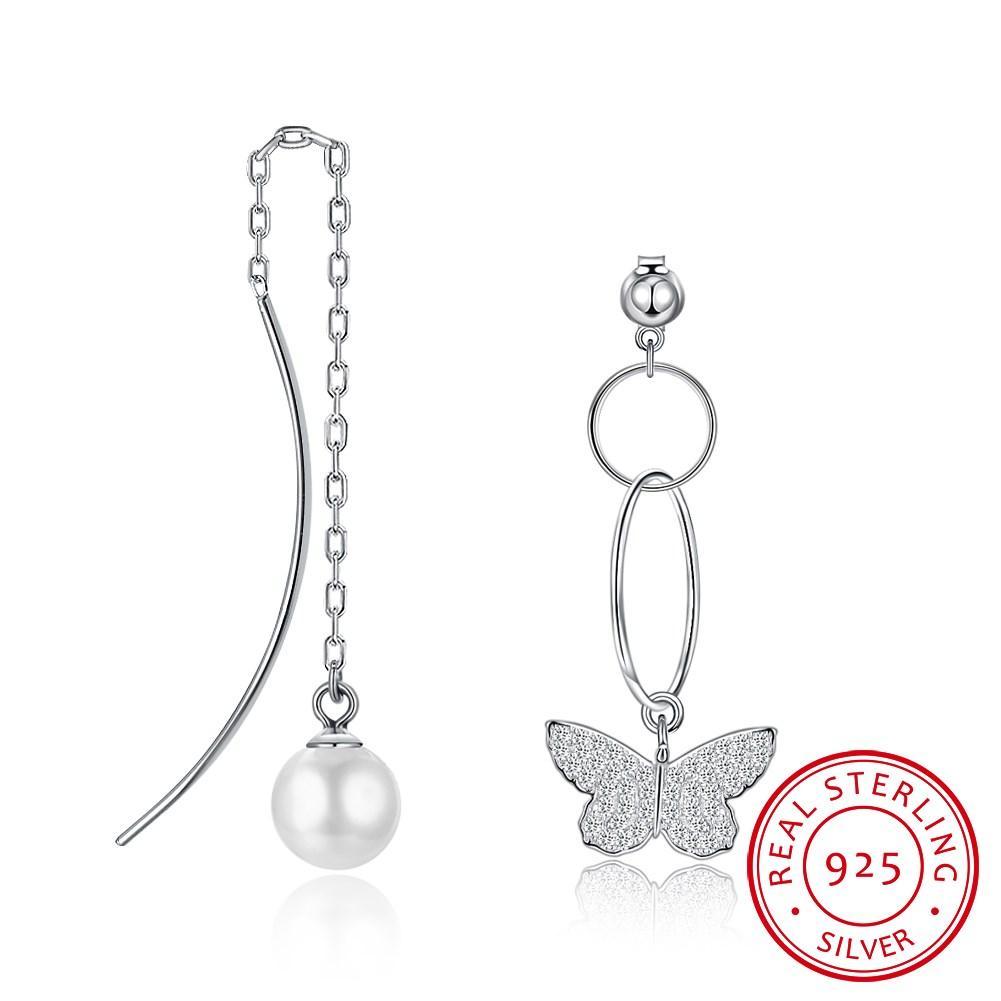 835adc11d 2019 SILVERHOO 925 Sterling Silver 8mm Shell Beads Earrings Asymmetric  Butterfly Earrings Sterling Silver Drop From Shuidianba, $34.23 | DHgate.Com