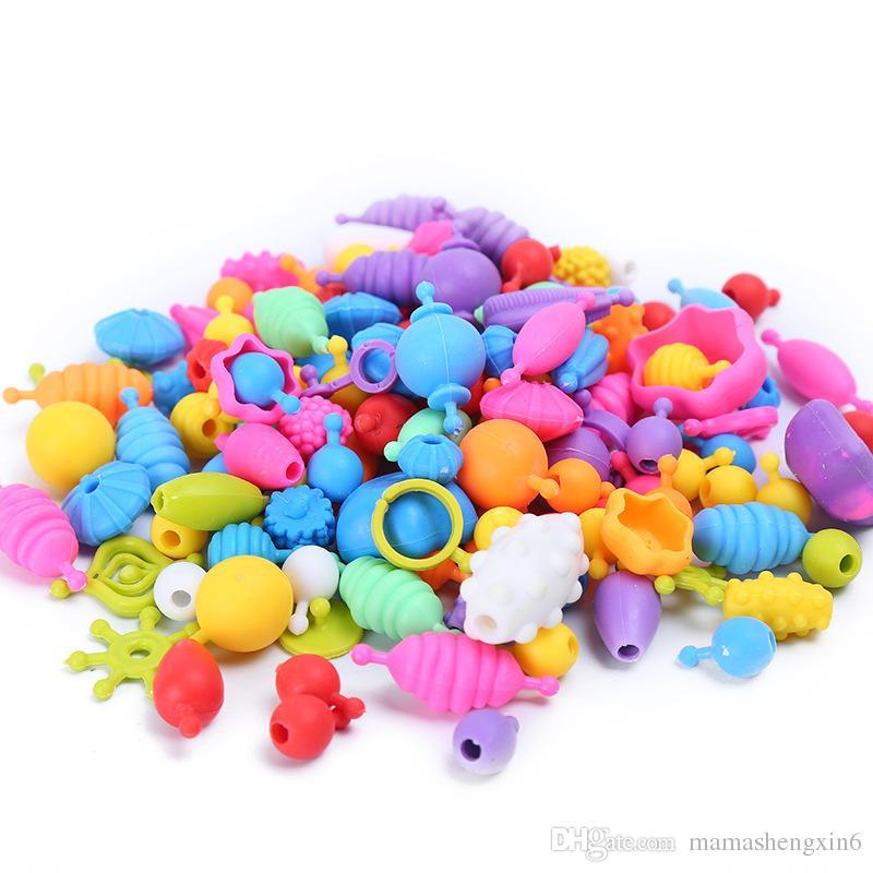New Girls Snap-Lock Threading Beads Toys Handmade DIY Crafts Arts Beads Jewelry Making Plastic Toys Intelligence Toys Gift