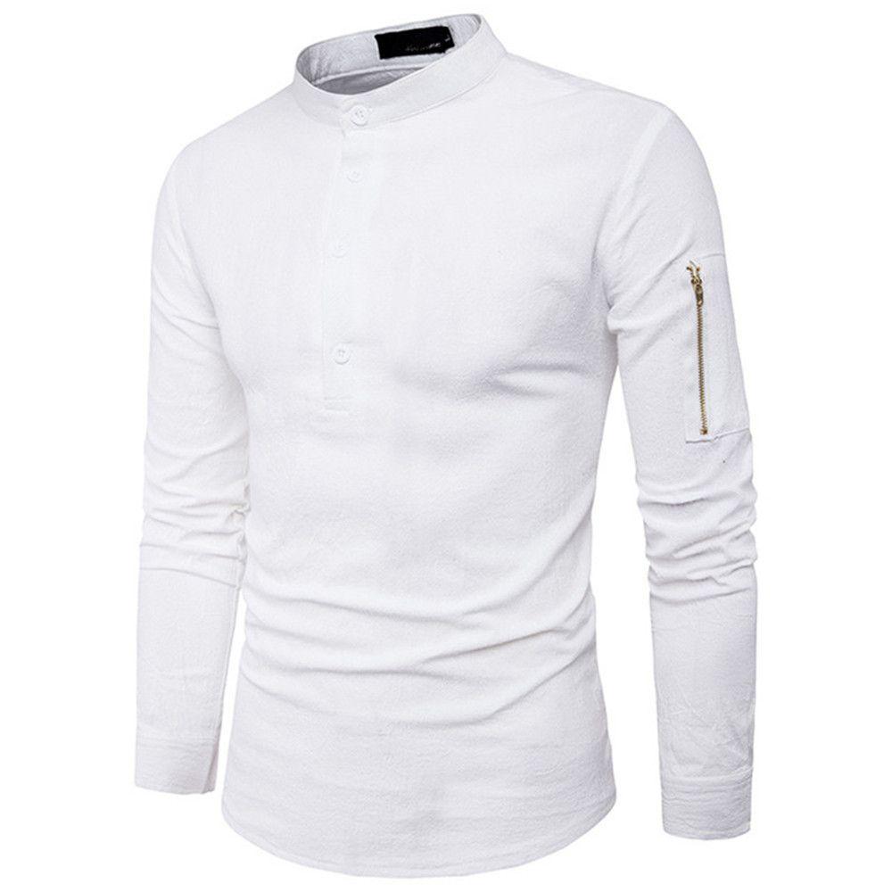 Compre Hip Hop Medio Botón Para Hombre Camisas Con Cuello Alto Moda  Cremallera Manga Blusa Delgada Camisa De Estilo Coreano 2XL Blanco Negro  Color Venta ... f0bb5fc484e