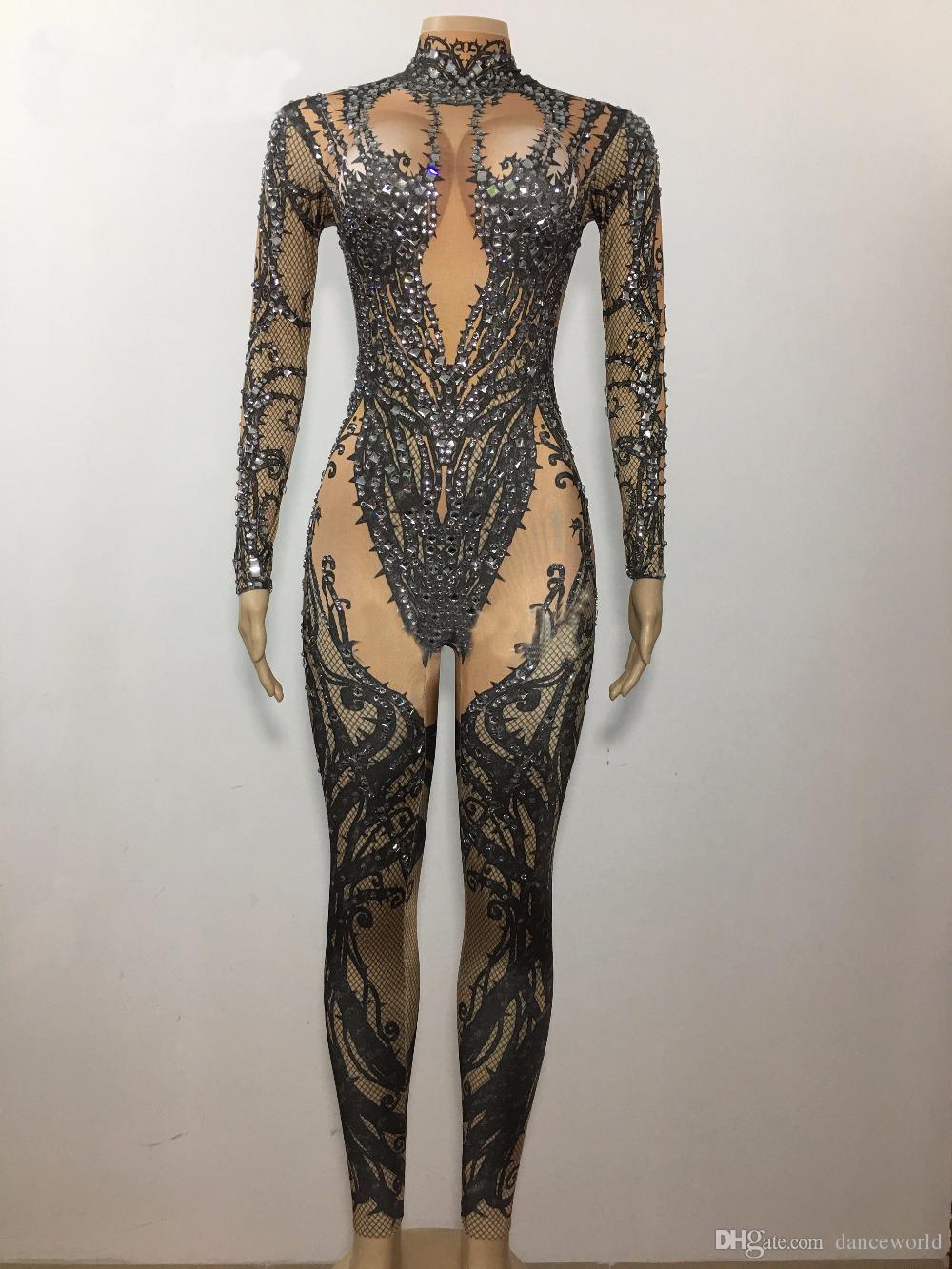 DJ Songbird Seksi Siyah Çıplak Rhinestone Tulum Seksi Gece Kulübü Bar Aşınma Taşlar Bodysuit Tayt Balo Kıyafeti Kıyafet Performans Elbise