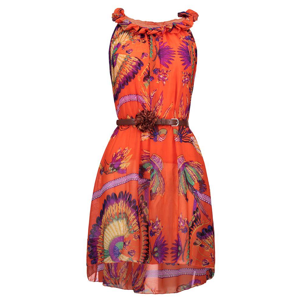 Bohoartist Bohemian Chiffon Dress Women Orange Floral Print Sleeveless  Ruffle Belt Boho Summer Dresses Vacation Beach Sundress Elegant Evening  Dresses Woman ... d824b2498