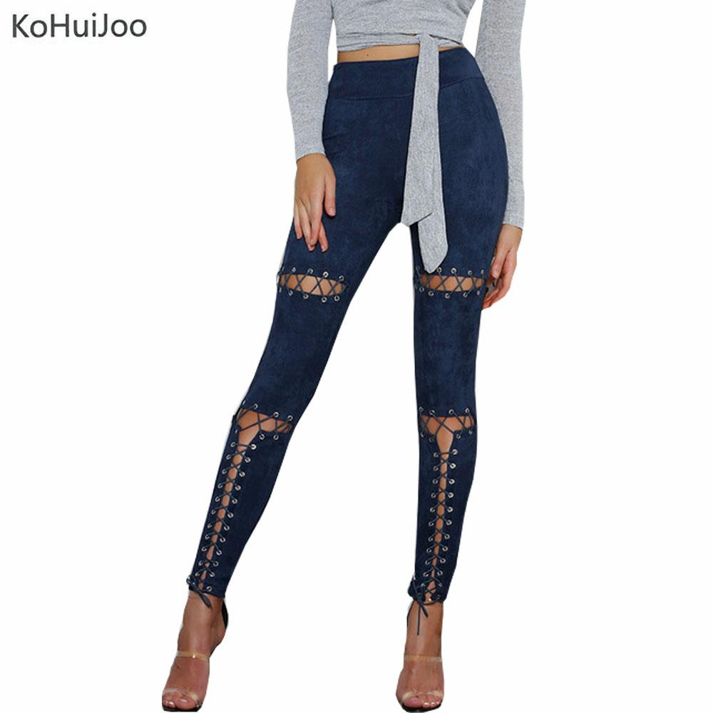 b157972fda0ef 2019 KoHuiJoo Spring Autumn Women Suede Leather Pants Female Slim Lace Up  Hollow Out Button Street Sexy Fitness Skinny Trousers Lady From Misssixty,  ...
