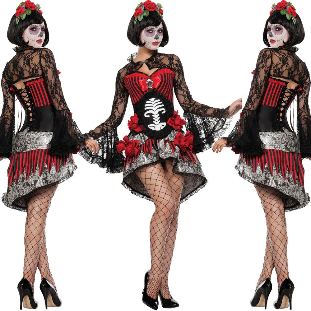 39d0547a1c5 Day Of The Dead Costume Sugar Skull Dia De Los Muertos Halloween Fancy Dress  Black And White Theme Party Costume Adult Halloween Themes From Morph1ne