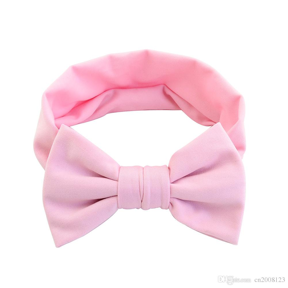 Popular Cute Solid New Design Hair Band Candy Color Purified Elastic cloth Bowknot Girls Baby Headband Hair Accessories HA-1119