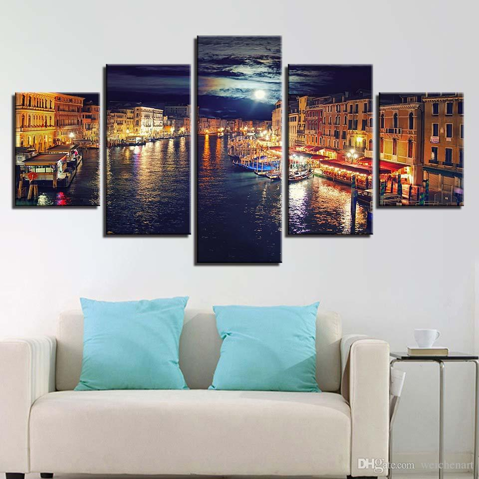 Home Decor HD Prints Canvas Poster Framework Venice Water City Night Scene Paintings Wall Art Boat Pictures Living Room