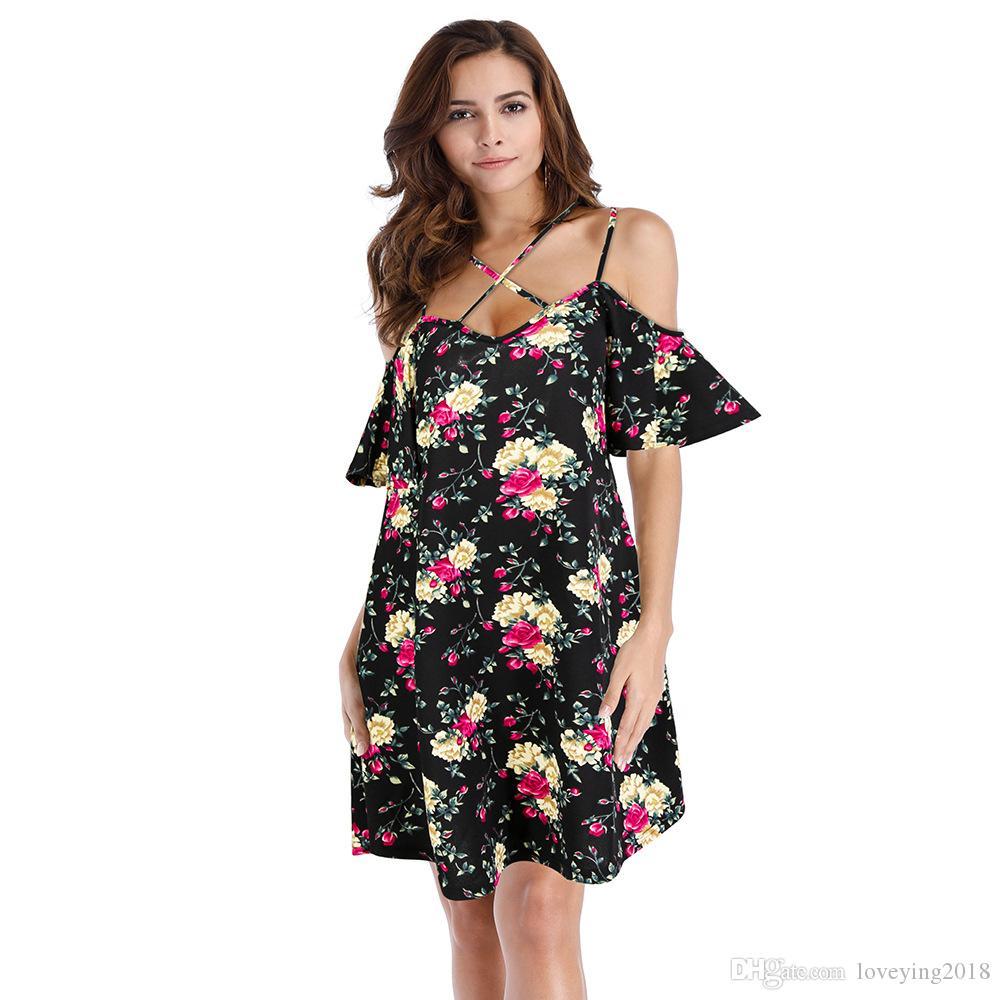 5cb72f634d41 Sexy Cris Cros Print Floral Women Dress Cold Shoulder Loose Vestidos Short  Sleeve Black Summer Dresses 2018 Short Robe Short Evening Dress Designer  Evening ...