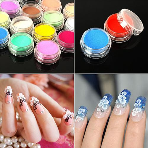 Wholesale 12 Mixed Colors Acrylic Nail Art Tips Uv Gel Powder Dust