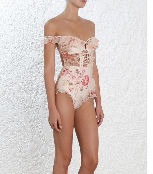 Costume da bagno bikini con cinturino in pizzo con stampa a inchiostro a maniche lunghe e maniche a paese