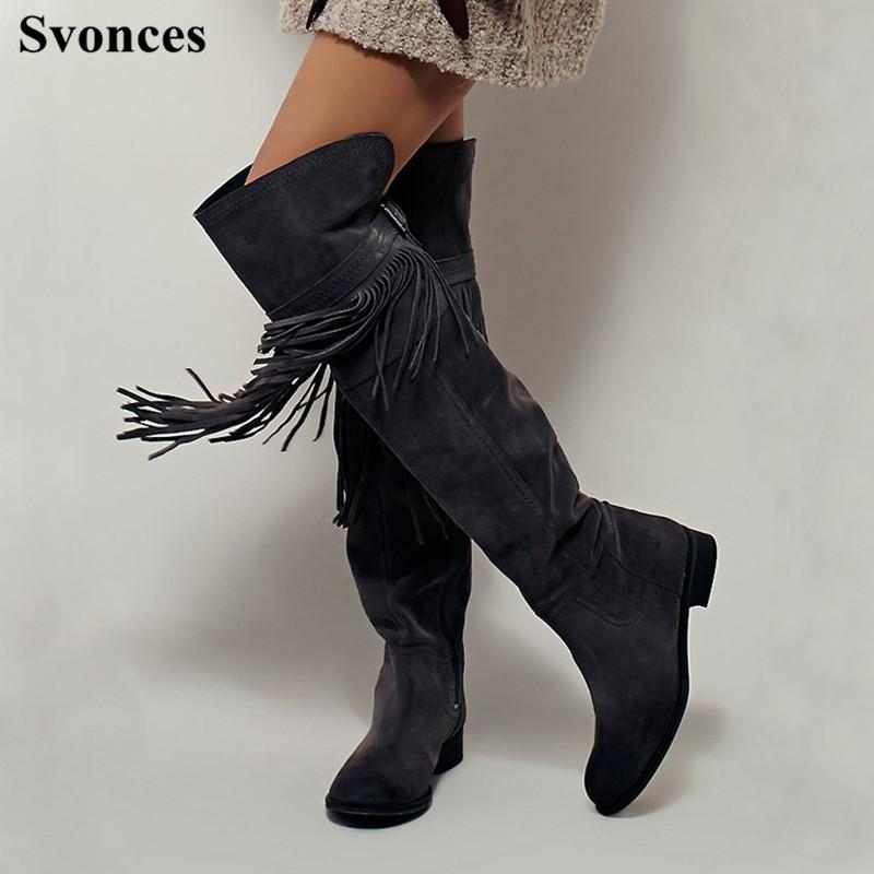 baf0b353e9b Women Over The Knee Boots Velvet High Quality Thigh High Boots Flat Fringe Dark  Grey Suede Winter Women Shoes Chaussures Femmes Cowboy Boots Chelsea Boots  ...