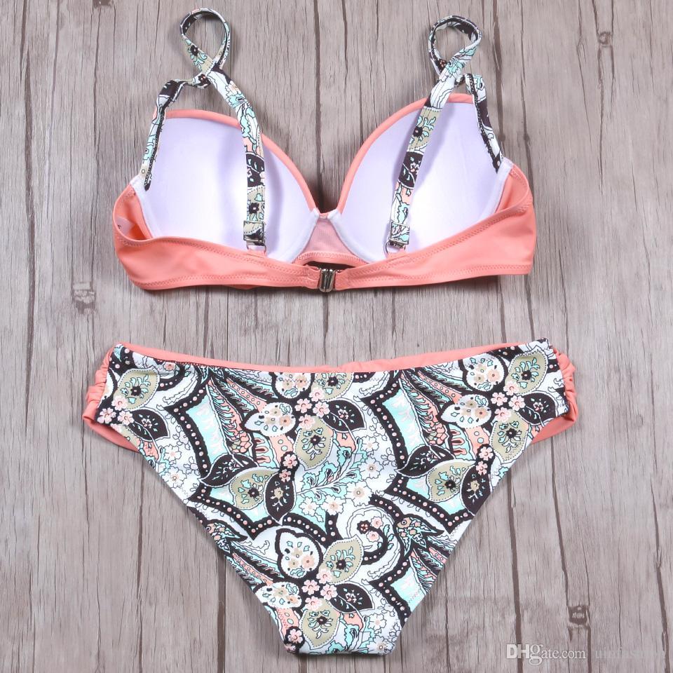 Sexy Bikinis Women Swimsuit 2018 Summer Low Waisted Bathing Suits Halter Top Push Up Bikini Set Plus Size Swimwear