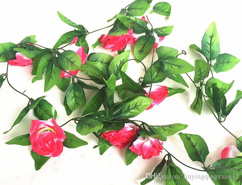 245 cm es decoración de la boda Artificial falsa seda rosa flor vid colgando guirnalda boda decoración para el hogar flores decorativas guirnaldas