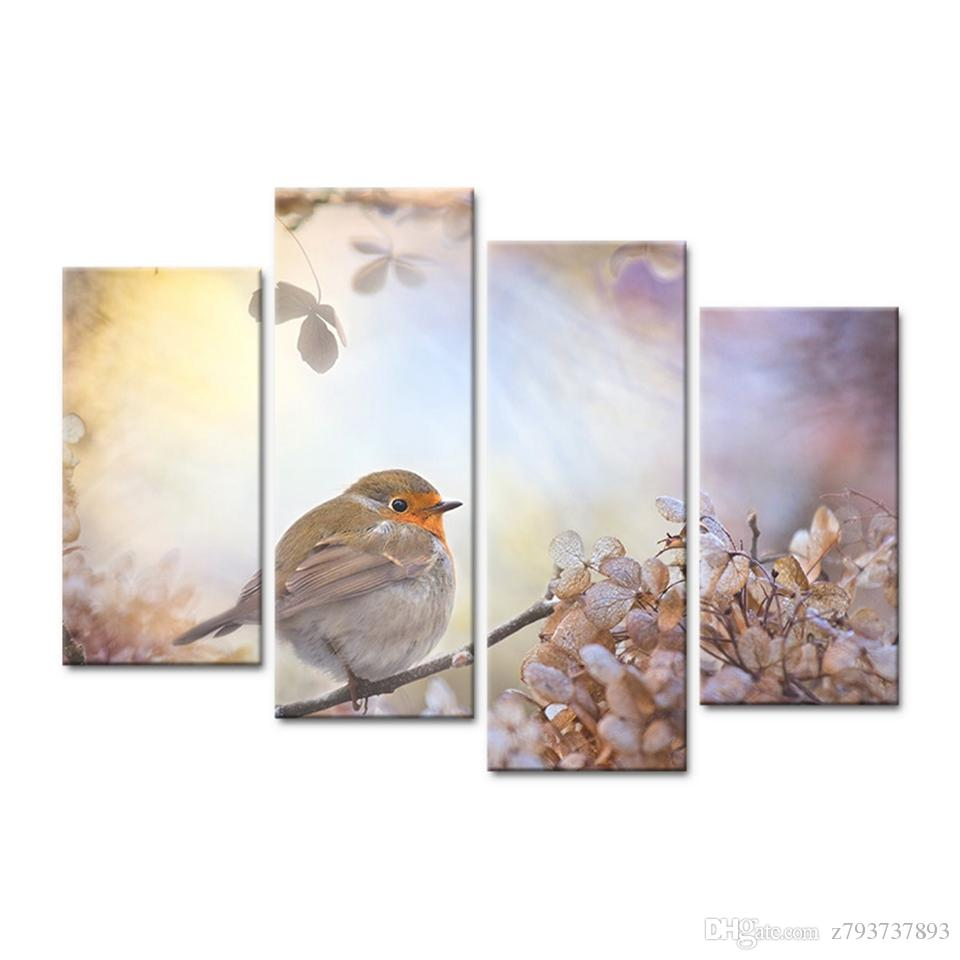 2018 Poster Frame Hd Printed Canvas Home Decor Branches Animal Bird ...