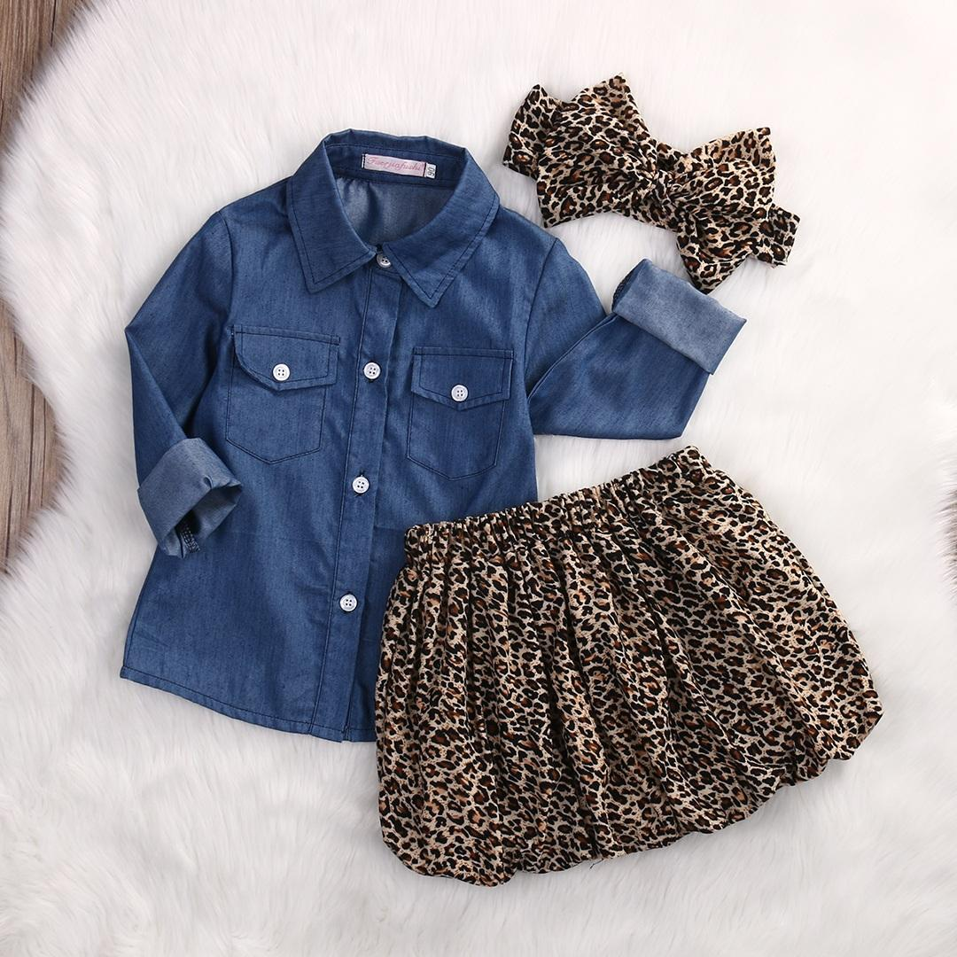 748be142de8a 2019 Set Cute Baby Girls Clothes 2018 Summer Toddler Kids Denim Tops+Leopard  Culotte Skirt Outfits Children Girl Clothing Set From Fengyang1101, ...