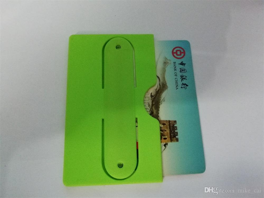 side of the mouth open Custom 3M sticker leather smart wallet cell phone card holder silicone card holder 3m 300lse sticker pouch for iphone