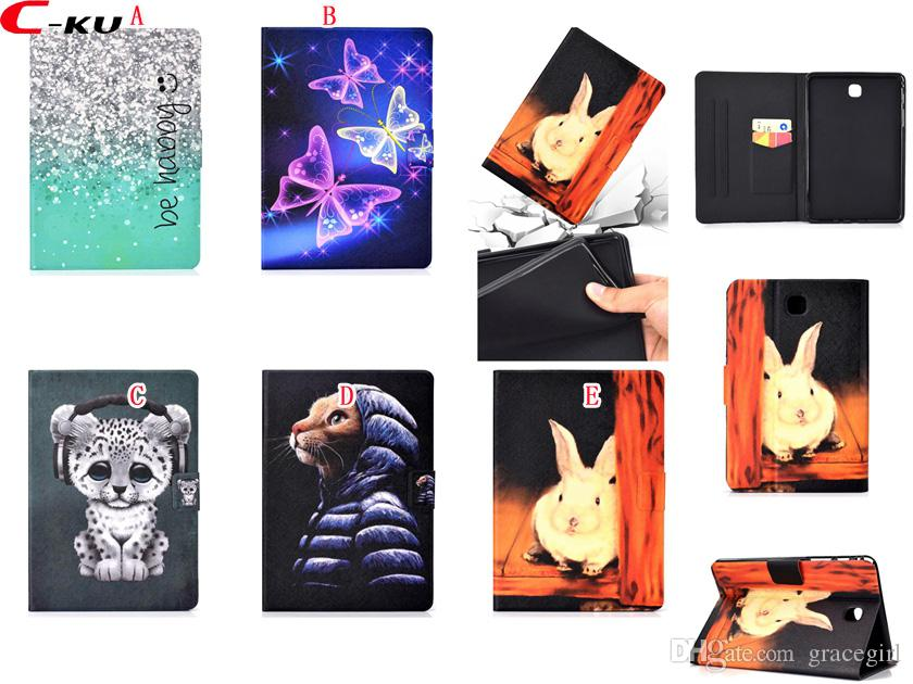 "Cartoon Cat Leopard Wallet Leather Case For Samsung Galaxy Tab A 10.5 T590 S4 T830 T380 T350 E 9.6"" T560 T580 Butterfly Sky Sand Skin Cover"