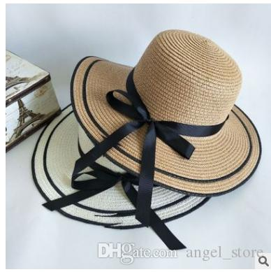Wide Brim Straw Hats Bow Round Beach Summer Hats Ladies 2018 Chapeu  Feminino Fashion Hats For Women Apparel Accessories Fishing Hat Wide Brim  Fedora From ... 7543dbf48f0