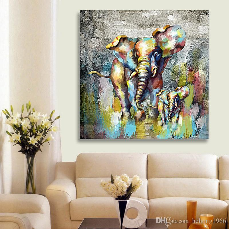 New Creative Designer Lovely Cartoon Frameless Living Room Canvas Wall Art Decor Pictures Abstract Elephant Type Oil Painting 28hy Aa