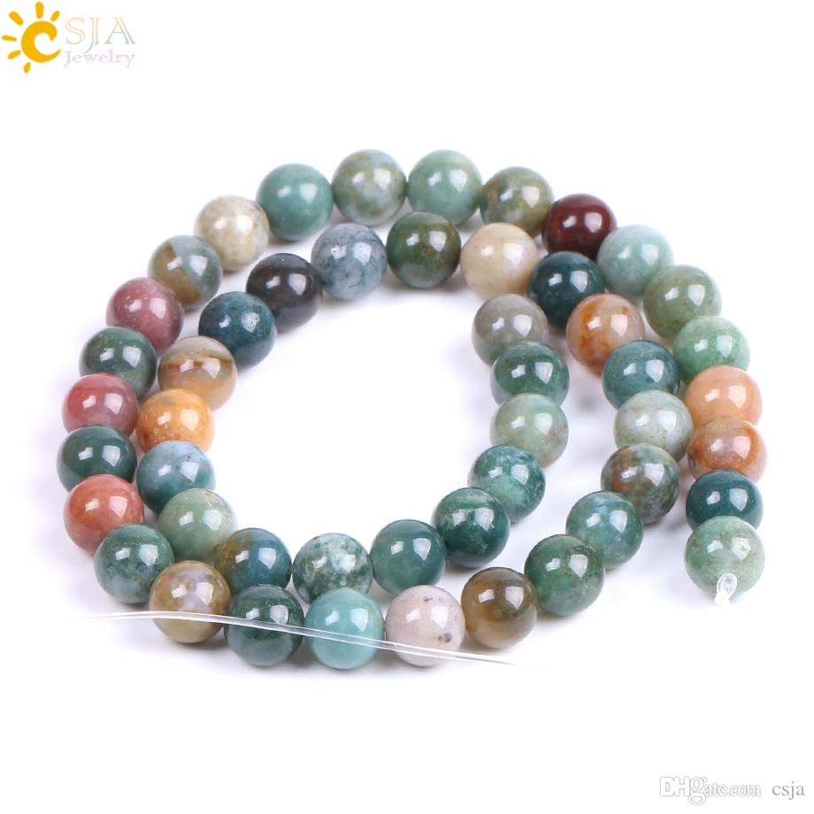 CSJA 8mm 49PCS Natural Gemstone Mala Loose Beads Indian Agate Onyx Bead Gem Stone Hand Craft Bracelets Necklaces Jewelry DIY Making F194