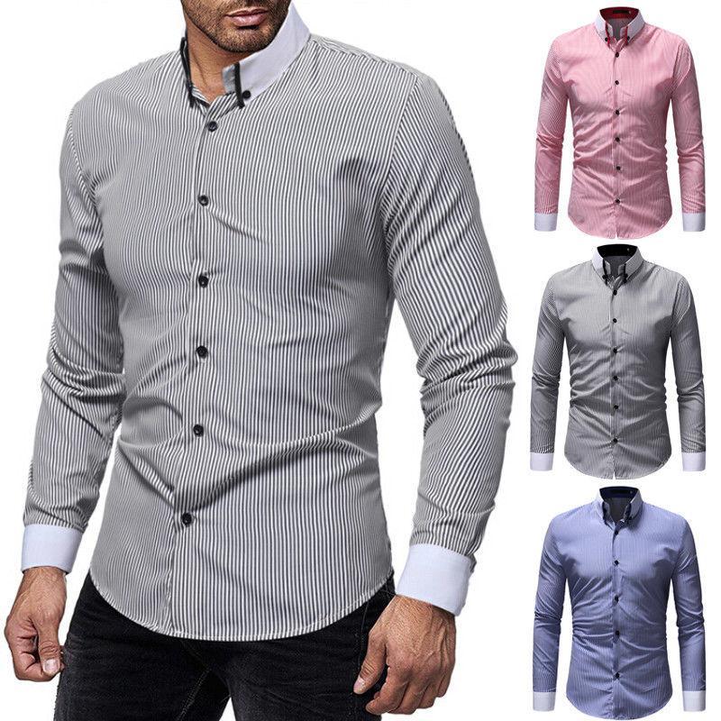 Camisas Vestir Hombres De Formales Manga Camisa Negocios Larga Abotonadas Con Para Casual Elegante Botones 3R4j5ALq