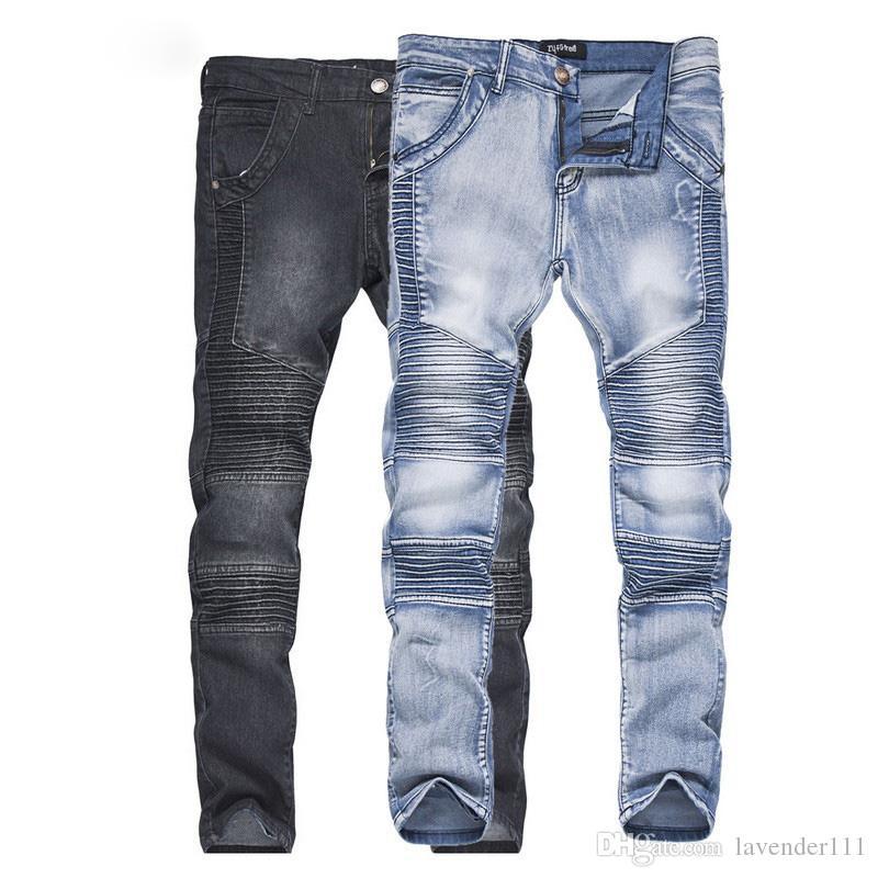 cf945c48f78f4 Compre Nuevos Pantalones Vaqueros De Hombre Ripped Fold Slim Jeans  Pantalones Sólido Elasticidad De Moda Pantalones Masculinos Ocasionales  Pantalones De ...