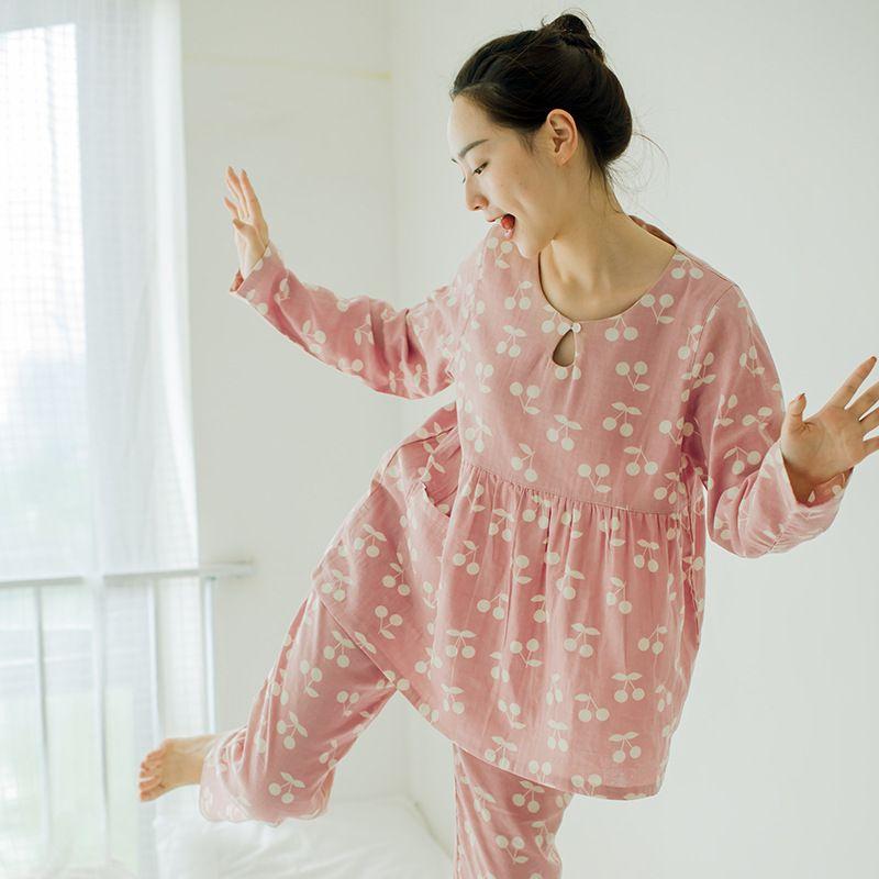 cf7a7d2f86f4 Spring Autumn Pajamas Women s Cotton Suit Japanese Loose Cotton ...