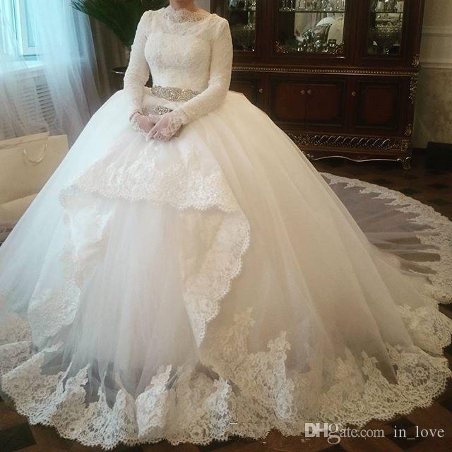 fcce9be54ac Muslim Wedding Dresses Ball Gown Long Sleeve High Neck Crystals Belt Lace  2019 New Modest Style Bridal Gowns Custom Plus Size Ball Gowns Wedding Ball  ...