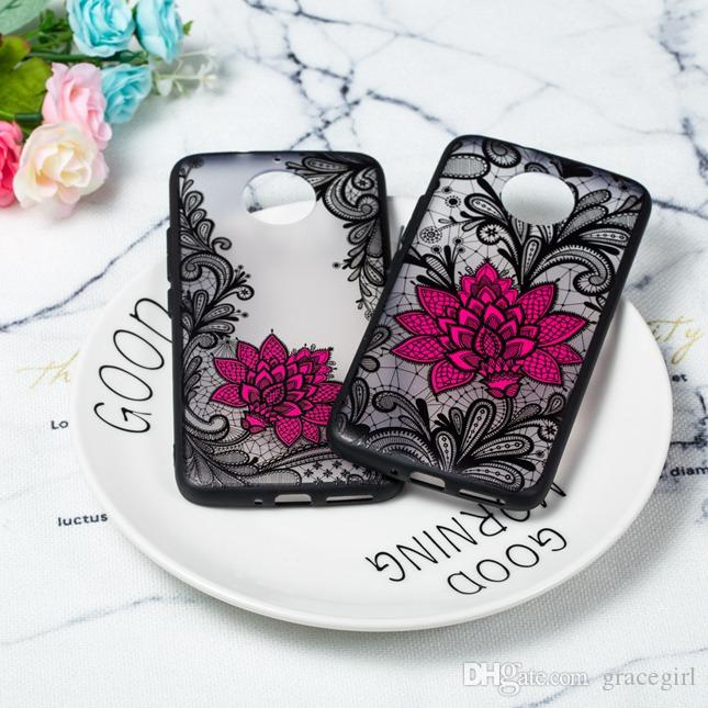 Fashion Lotus Flower Tpu Pc Hard Case For Moto G5 G5s Plus C G6 X4