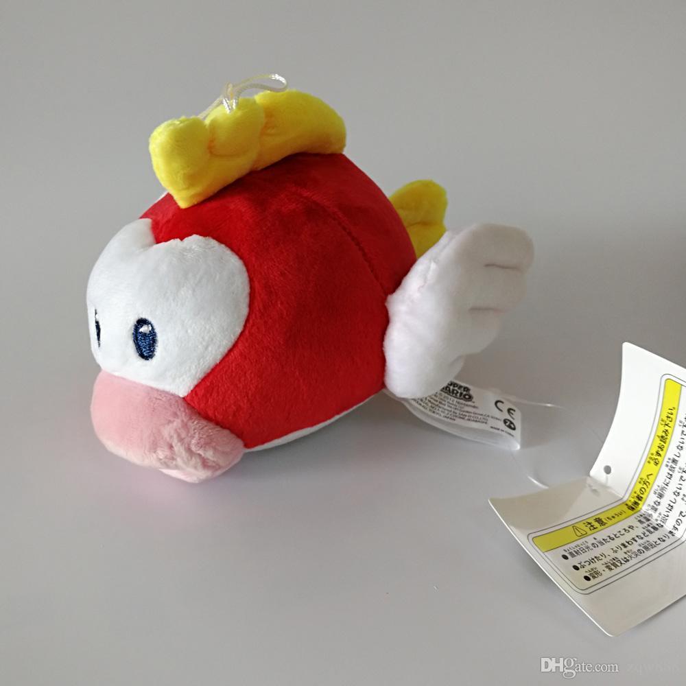 Yüksek Kalite 100% Pamuk 6 inç 15 cm Süper Mario Bros Uçan Balık Peluş Oyuncak Çocuk Tatil Hediyeler Için