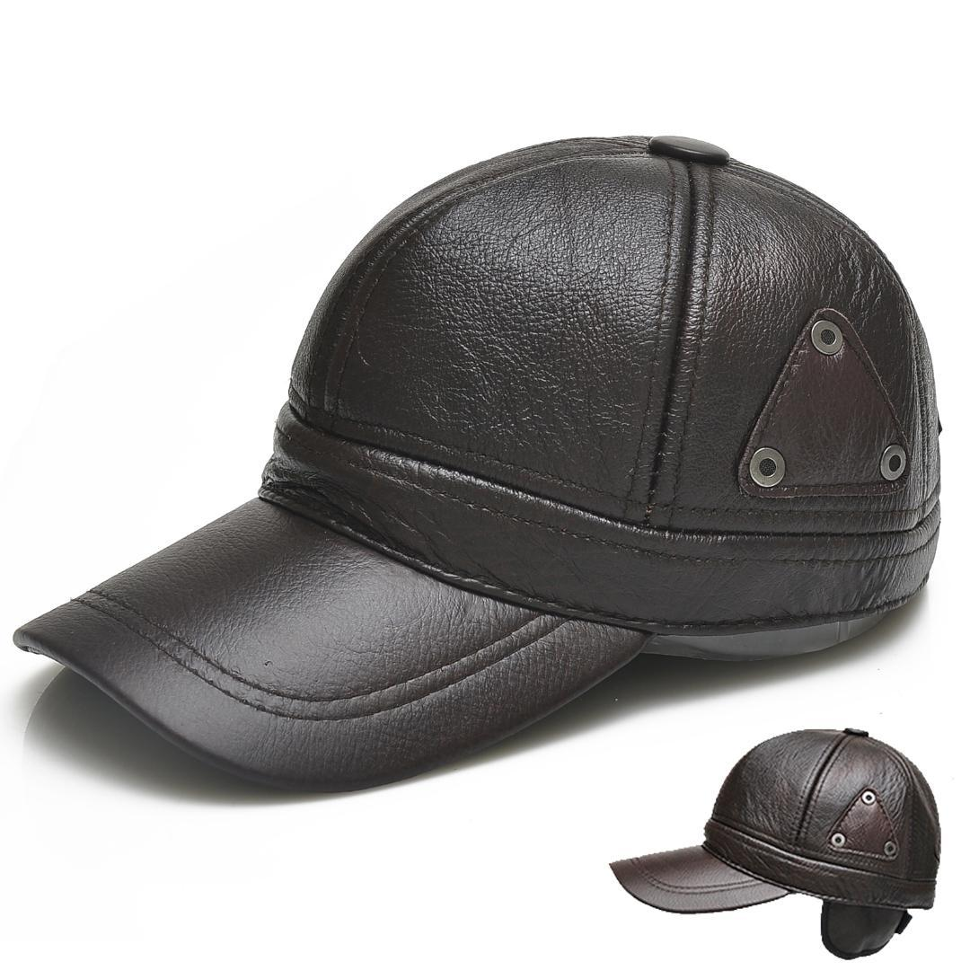 5f73bfc392fb0 Black Faux Leather Cap Winter PU Baseball Cap For Men Warm Snapback Hat Ears  Dad Earmuffs Casual Cowhide Hat Homme Casquette Cool Caps Flat Brim Hats  From ...