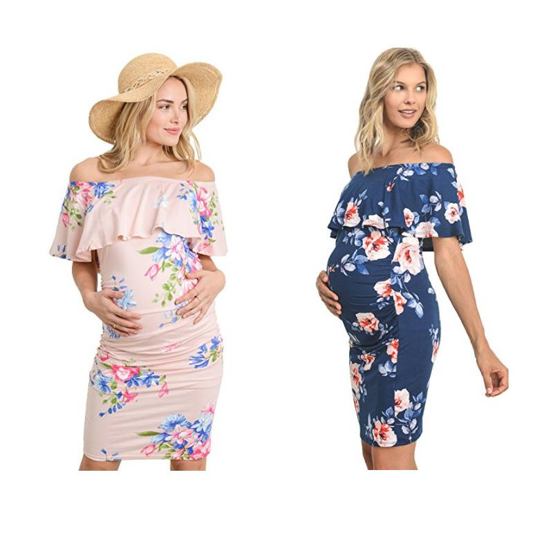 03a0945468ae5 2019 Fashion Maternity Shoulderless Sheath Dress Floral Pregnancy Clothes  Summer Pregnant Women Dresses From Mobileitem, $8.62 | DHgate.Com