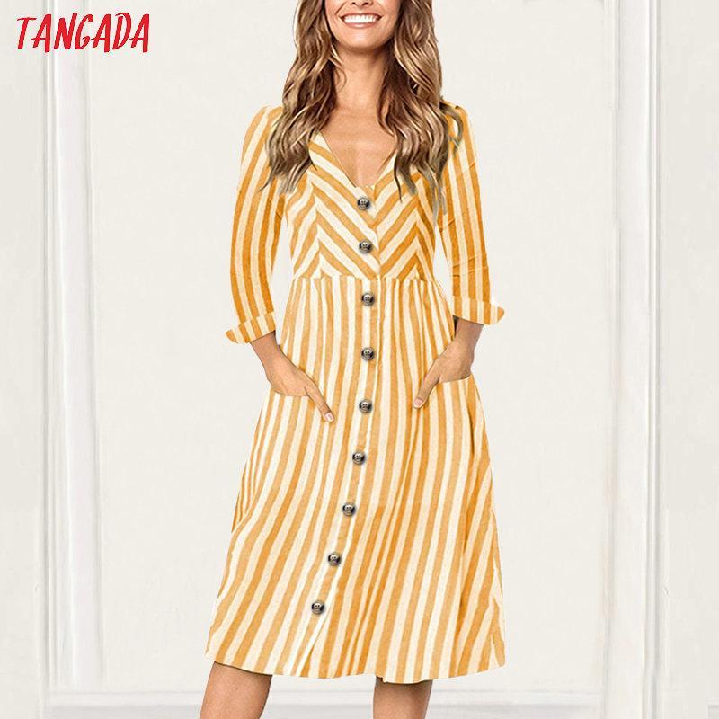 2019 Tangada Striped Midi Dress For Women Long Sleeve Female Korea