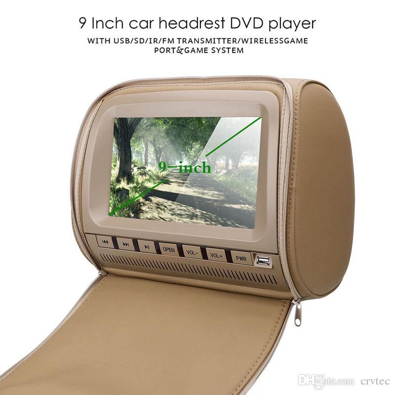 2x 9inch auto dvd for car dvd beige headrest video with USB SD FM IR Game rear-seat