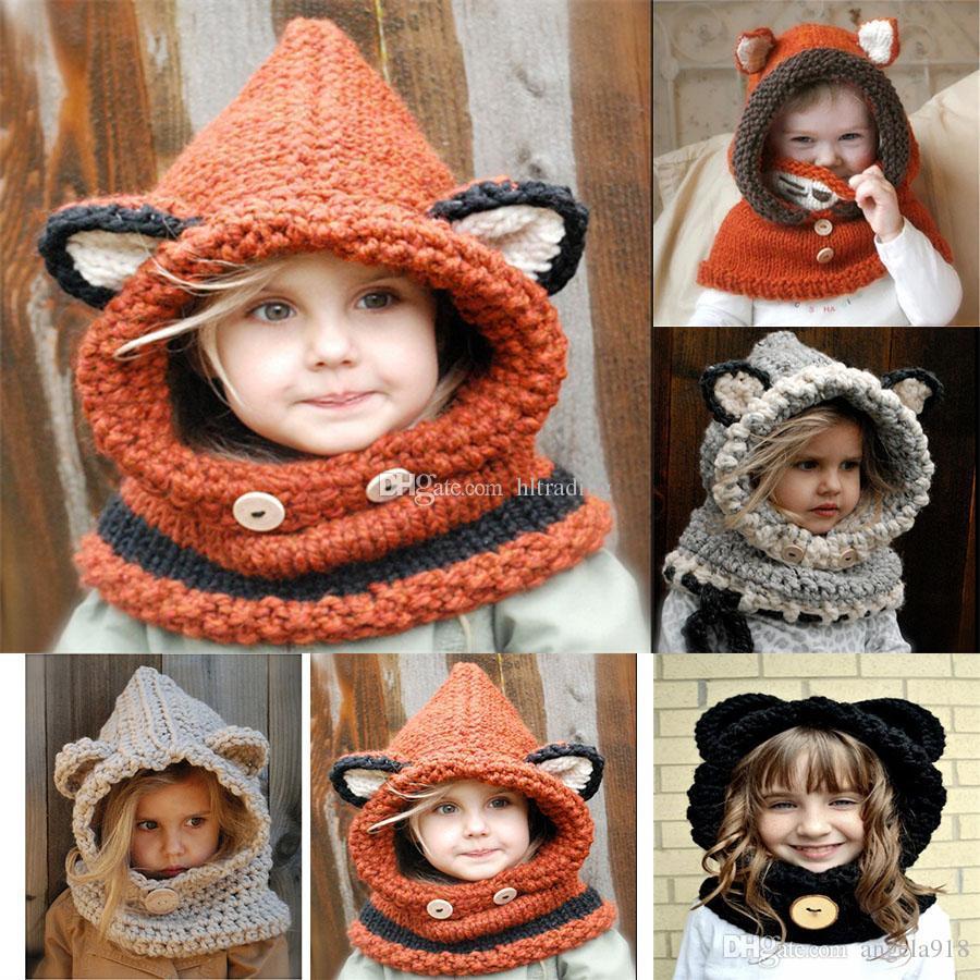 2019 Baby Girls Boys Fox Knitting Caps Cartoon 2018 Winter Wool Cap