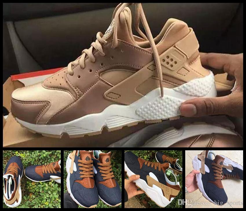 wholesale dealer d7292 22011 Acheter 2018 Huarache ID Breathe Chaussures De Course Pour Hommes Femmes,  Femme Hommes Or Rose Marine Bleu Marine Air Huaraches Sneakers Baskets  Chaussures ...