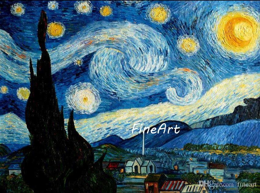hand painted vincent van gogh starry night painting famous paintings
