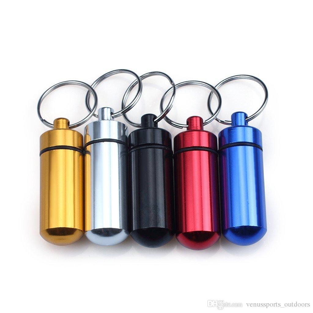 Yürüyüş Açık Gadgets Alüminyum Su Geçirmez Hap Durumda Ilaç Konteyner Kutusu Kapsül Tutucu Anahtarlık Renk Çeşitli