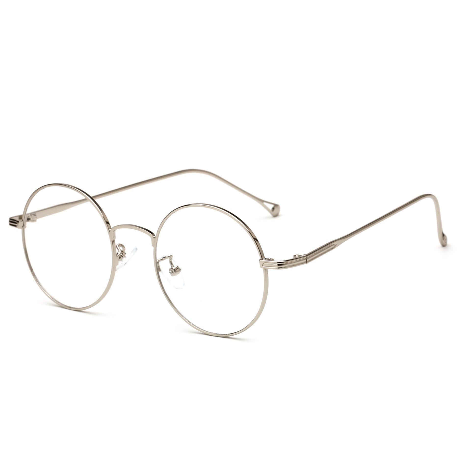 acb23b9f6255b Compre 2018 Promoção Liga Sólida Unisex Óculos Gafas Retro Rodada Óculos De Metal  Quadro T Novo Espelho Plano Para E Aprender De Juemin