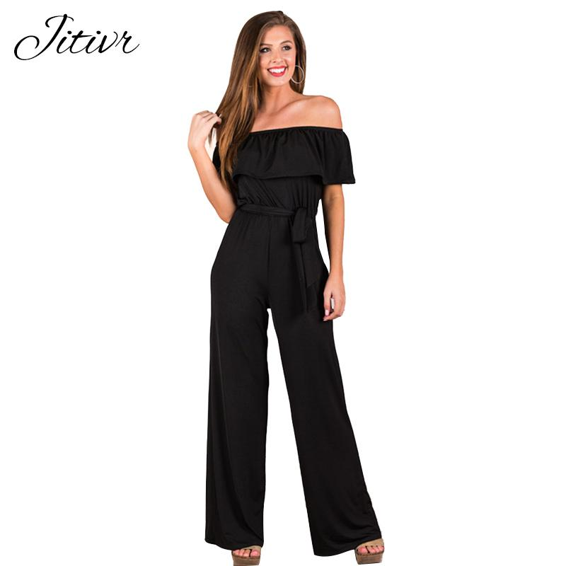 c2056f25d8f2 2019 JITIVR Off Shoulder Sexy Solid Jumpsuits One Piece Backless Club Rompers  Womens Jumpsuit Strapless Full Bodysuit Summer Overalls From Hongxigua