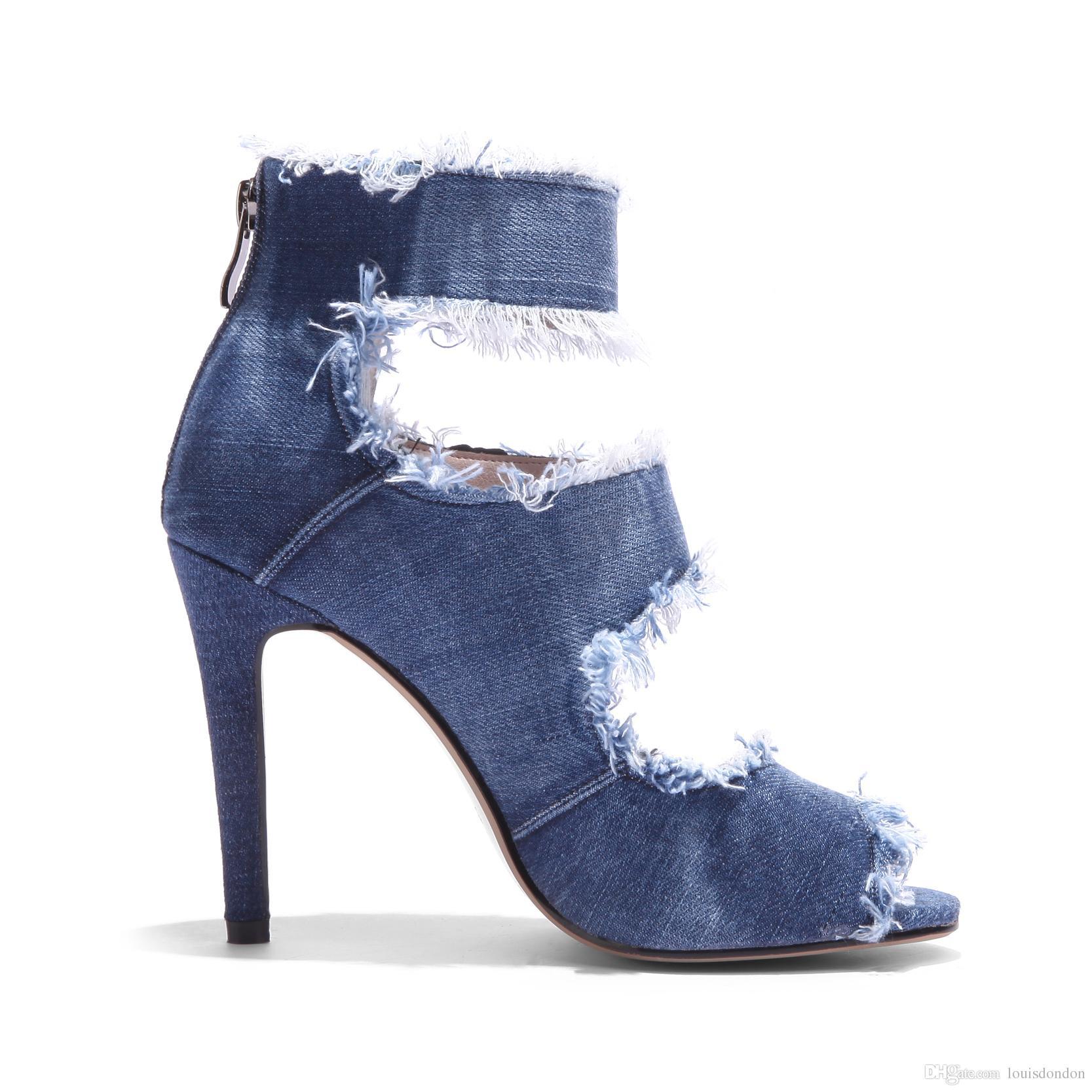 2018 Rahat Üst Kalite Bayan Mavi Denim Jeans Geniş Genişlik Yüksek topuklu Yedekleme Bilek Kayışı Kadınlar Sandaletler Zip